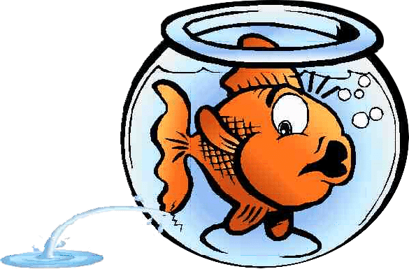 Clipart of a goldfish in a leaking fishbowl